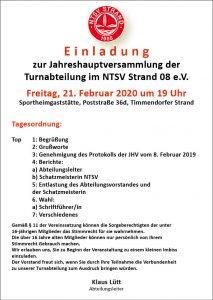 Jahreshauptversammlung Turnen @ NTSV-Sportheim-Gaststätte